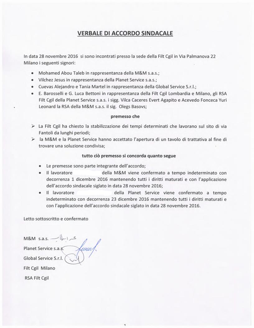 Global accordo stabilizzazioni conciliazioni sulle - Letto e sottoscritto ...